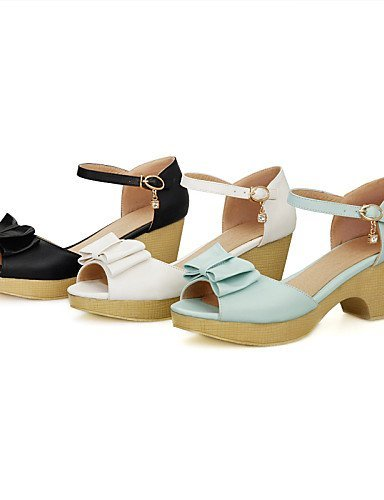 Peep Shoes White DOrsay White amp; ShangYi Sandals Heel Chunky Toe Piece Womens Casual Blue Black Dress Two wIBw45xq