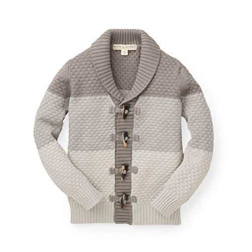 Hope & Henry Boys' Grey Block Stripe Cardigan Sweater