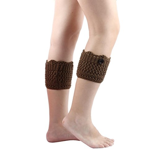 32t Thin - OVERMAL Women Hollow Hole Hole Knitted Leg Warmers Socks Boot Cover (Khaki)