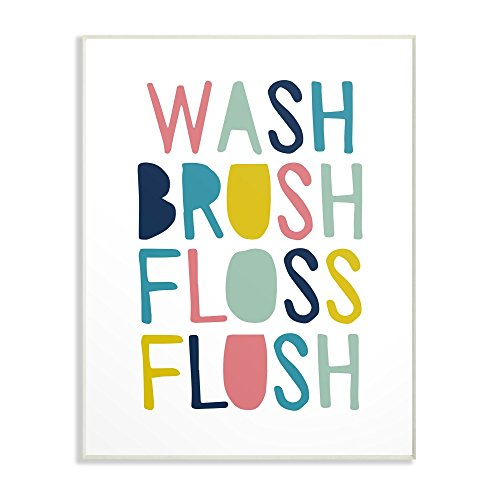 The Kids Room by Stupell Wash Brush Floss Flush Typography Wall Plaque Art, 10 x 0.5 x 15, Proudly Made in USA