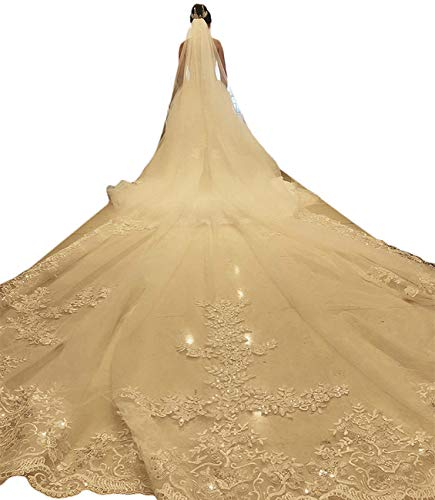 Faiokaver Wedding Veils Cathedral Long Floral Sequins Lace 5 Meters 1 Tier with Comb Bridal Gown Cathedral Train