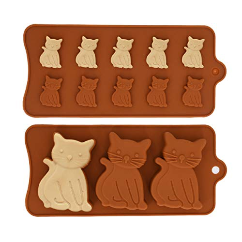 - MoldFun 2 Pack Cute Cat Chocolate Silicone Molds Kitten Baking Cake Cupcake Pancake Pan Kitty Soap Polymer Clay Candy Cookie Fondant Concrete Wax Melt Ice Cube Tray