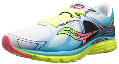 Saucony Women's Kinvara 6 Running Shoe, White/Blue/Coral, 8.5 M US (Best Triathlon Running Shoes Reviews)