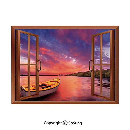 - Sunset Decor Removable Wall Sticker/Wall Mural,Enchanted Coast with a Rowboat Under Magical Hazy Sky Peaceful Nature Image Creative Open Window Design Wall Decor,24