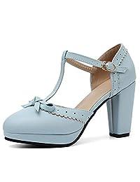 8d6949661e DoraTasia Women's Round Toe Mary Jane Comfy Vintage Ankle Strap Dress Pumps  Chunky Block Heel Shoes