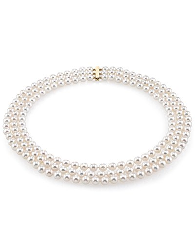 14K Gold Japanese Akoya White Cultured Pearl Triple Strand Necklace - AAA Quality, 16-17-18'' Length by The Pearl Source (Image #7)