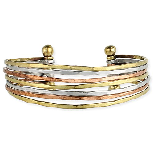 Hammered Bunch Mixed Metal Cuff Bracelet - One Size Fits Most - (Hammered Metal Bracelet)