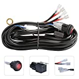 BEEYEO Wiring Harness Kit for LED Light Bar 600W 12V Fuse Relay On/Off Switch Relay 12FT Length Universal Light Bar Accessories 2 Lead