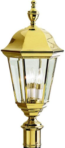 Kichler 9989PB Grove Mill Outdoor Post Mount 3-Light, Polished - Outdoor Post Large Brass Polished