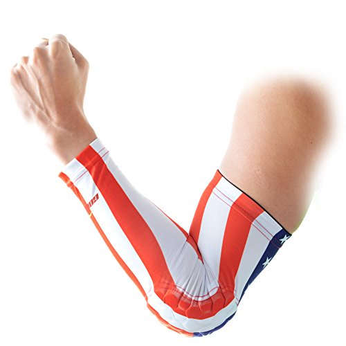 COOLOMG Youth Anti-Slip Arm Sleeves Cover Pad Protector Gear Sports Adult, USA Flag, - Usa Shooter The