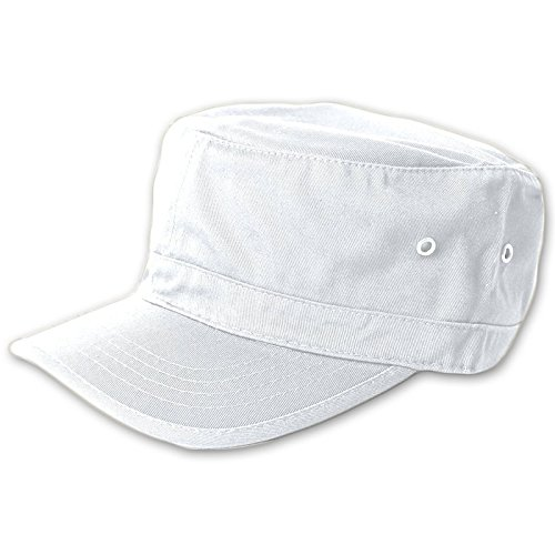 Wholesale Enzyme Washed Cotton Army Cadet Castro Hats (White) - 20778  One Size