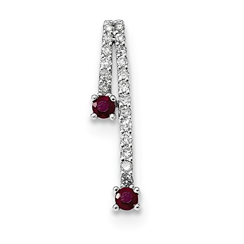 - 14k White Gold Diamond And Ruby Polished Chain Slide Pendant from Roy Rose Jewelry
