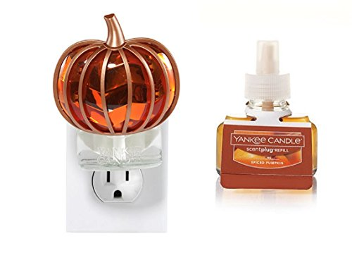 - Yankee Candle Chevron Pumpkin Scent-Plug Diffuser Base with SPICED PUMPKIN Home Fragrance Electric Refill