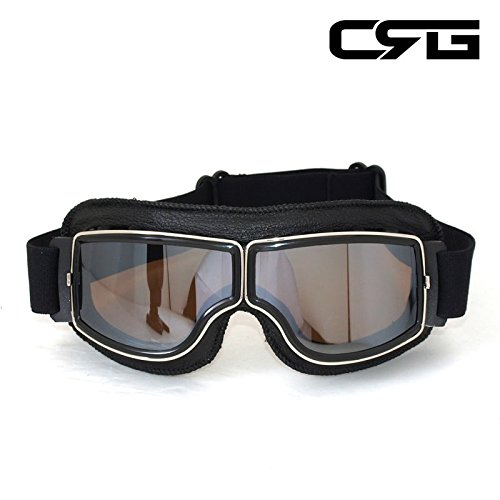CRG Sports Vintage Aviator Pilot Style Motorcycle Cruiser Scooter Goggle T13 T13BSB Silver Lens Black Padding