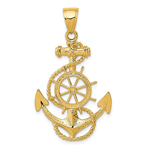 14k Yellow Gold Large Nautical Anchor Ship Wheel Mariners Pendant Charm Necklace Sea Shore Man Fine Jewelry Gift For Dad Mens For Him ()