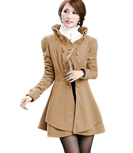 Peacoat Ruffle (DragonPad Women's Slim Fit Woolen Cotton Blend Ruffles Collar PeaCoat(XXL,Camel))