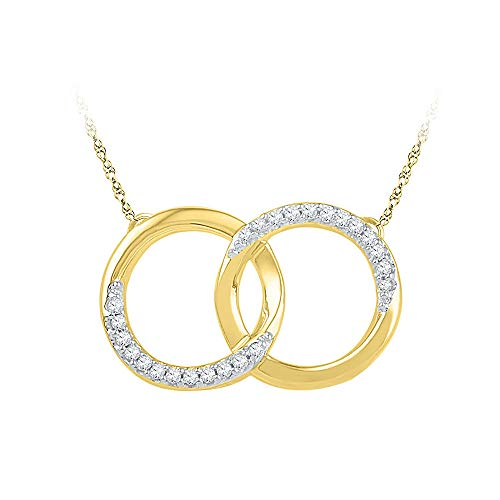 FB Jewels 10kt Yellow Gold Womens Round Diamond Interlocking Double Circle Pendant Necklace 1/10 Cttw (I1-I2 clarity; H-I color)