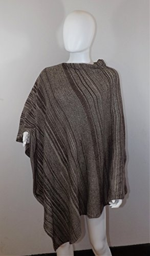 handmade-knit-poncho-brown-and-beige-random-stripes