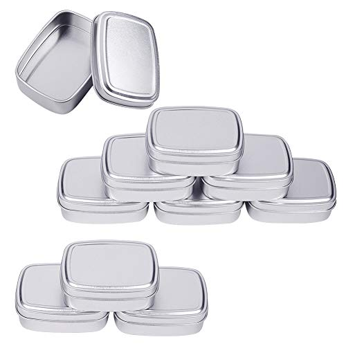 - BENECREAT 9 Pack 2.7oz Tin Cans Rectangular Aluminum Containers with Solid Top Lid and Round Smooth Edges for Treats, Favors and Crafts (Platinum)
