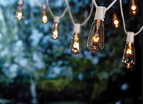 Goothy 20Ft Outdoor Patio String Lights,Set of 20 Glass ST40 Edison Style Bulb String Lights Garden/Backyard Party/Wedding Indoor String Lights(Plus 1 Extra Bulbs)-White
