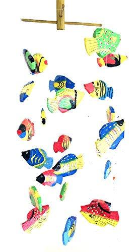 OMA Fish Wind Chime Wooden Hand Painted Fish Mobile Tropical Fish Home Decor -