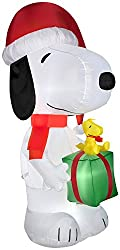 Gemmy Airblown Inflatable Snoopy Wearing a Santa Hat...