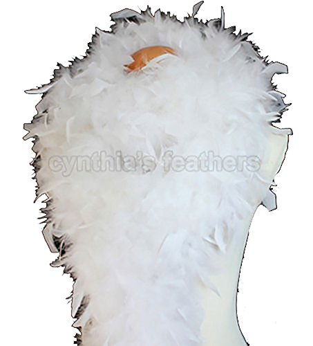 Cynthia's Feathers 80g Turkey Chandelle Feather Boas over 30 Color & Patterns (White) Flapper Boa
