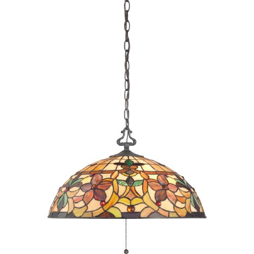 (Quoizel TF878CVB Kami Kitchen Nook Tiffany Pendant Lighting,3-Light, 300 Watts, Vintage Bronze (11