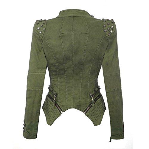 Blousons Style Jean Casual Blazer Rivets Amincissant Favoridol Manteau Punk en Moto Veste Automne Arm Femme de Fq5WwSP