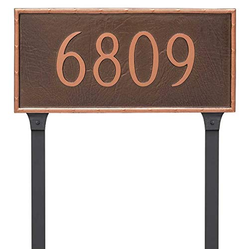 - Comfort House Metal Address Plaque with Lawn Stake. Custom cast Aluminum Address Sign displays Your House Number 68002F