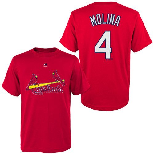 Majestic Yadier Molina St. Louis Cardinals #4 Youth Name & Number Player T-shirt Red (Youth XLarge 18/20)