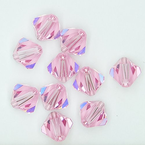 Light Rose Pink 6mm Swarovski Crystal Beads. Bicone. Made in Austria. Pack of 10 ()
