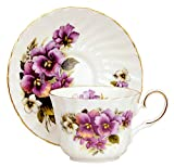 Pansy Fine English Bone China tea cup and saucer (1)