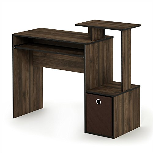FURINNO 12095CWN/DBR Econ Home Computer Desk with Shelves, Columbia Walnut/Dark Brown (Best Computer For Design Students)