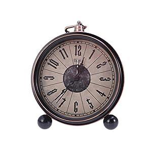 Vosarea Pequeño Estilo Antiguo Decorativo Estilo Retro Reloj Despertador Vintage Reloj de Escritorio analógico Silencio Sin Hacer tictac con HD Lente de Vidrio Baterías alimentadas