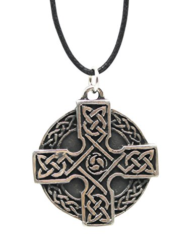 Pewter Celtic Pendant With 33 Cord Necklace on History Card (Cross 1)