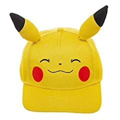 If you're a diehard Pokemon fan, then this Pikachu snapback hat is a must-have. The unique design and 3D plush ears of this snapback make this hat one-of-a-kind. This cap's pre-curved bill will keep the sun out of your eyes on hot summer days...