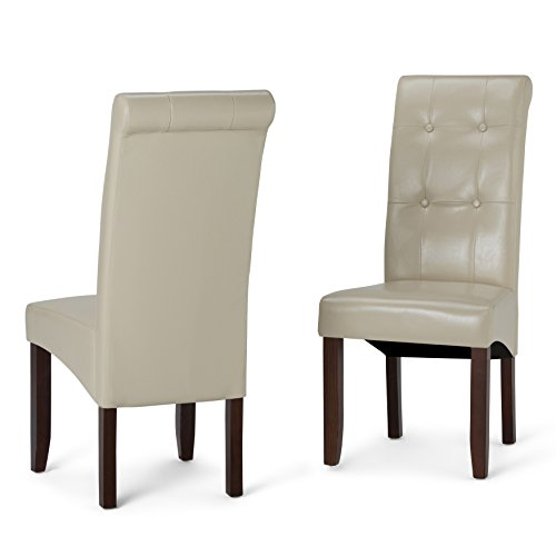Simpli Home WS5109-4-CR Cosmopolitan Contemporary Deluxe Tufted Parson Chair (Set of 2) in Satin Cream Faux Leather (Chairs Kitchen Cream Leather)