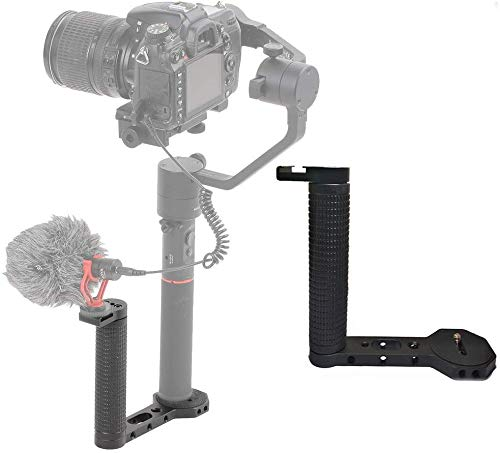 "FOTOWELT Dual Handle Grip Transmount with 1/4"" Universal Screw Compatible with DJI Ronin-s/DJI Ronin S/Zhiyun Crane 2/Smooth 4 Gimbal for Video Monitor Microphone Mount Adapter"