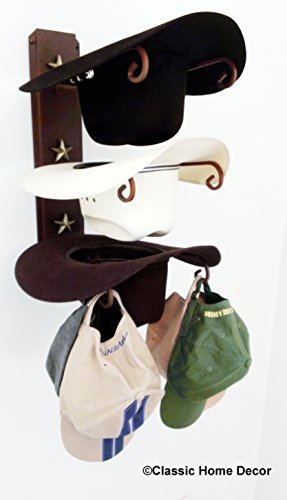 American Made Cowboy Hat Holder Rust with Gold (Western Hat Rack)