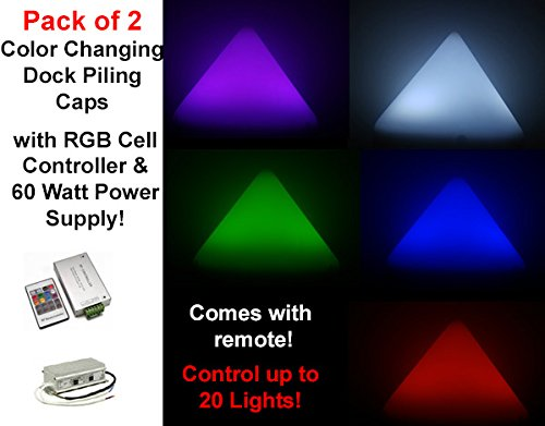 """Set of 2 10 1/4""""L RGB Color Changing Illuminating Dock Piling Caps(2.5 Watts Each) with 12V 60 Watt Power Supply and Photo Cell Controller with Remote Control up to 20 Lights!"""