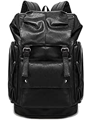 Yonger Fashion Pu Leather Laptop Backpack Schoolbag Travel Book Bag for Men Women