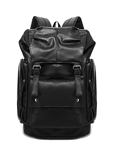 Yonger Fashion Pu Leather Laptop Backpack Schoolbag Travel Book Bag for Men - Go What When You Pack Camping To
