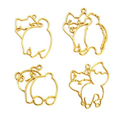 SimpleLif 4Pieces Super Cute Panda Fox Cat Frame Pendant Open Bezel Setting UV Resin Jewelry (Gold Length 40mm/1.6