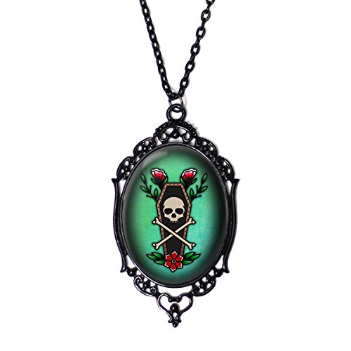 Skull Cameo Pendant - Project Pinup Skull Crossbone and Coffin 30x40mm Black Cameo Filigree Necklace with 18