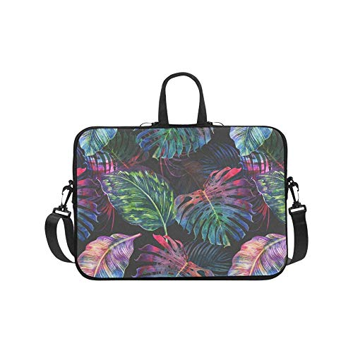 Multi-Color Tropical Palm Tree Hawaiian Jungle Monstera Leaf 17 17.3 Inch Notebook Computer Sleeve Shoulder Bag Neoprene Protective Case with Handle & Strap for Women Men