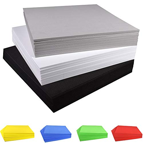 Craft Foam Sheets EVA Foam Sheets, 9.6×9.6 Inches, 8 Pack, Thickness 3mm/5mm/7mm/10mm, for Cosplay Costume Paper Scrapbooking Foamie Crafts Kids Cushion (Fun Foam Sheets White)