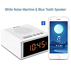 White Noise Machine with Bluetooth Speaker LCD Digital Clock, Timer & Memory Function, Portable Rechargeable Sound Machine for Sleeping Baby, Office Privacy, or Travel, 2 Year Warranty