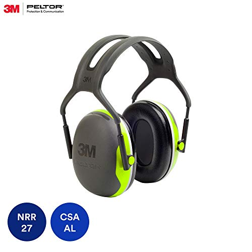 3M Peltor X-Series Over-the-Head Earmuffs, NRR 27 dB, One Size Fits Most, Black/Chartreuse X4A (Pack of 1) (Best Nrr Ear Muffs)