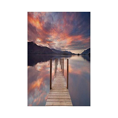 Polyester Garden Flag Outdoor Flag House Flag Banner,Landscape,A Flooded Jetty In Derwent Water Lake District England Sunset Morning Photo,Coral Purplegrey,for Wedding Anniversary Home Outdoor Garden -